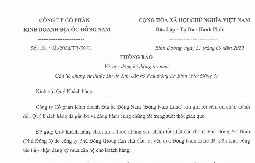 Thông báo về Dự án căn hộ Phú Đông 3| Dongnamland.com